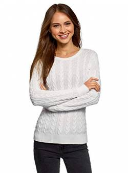 oodji Collection Damen Strukturierter Strickpullover mit Zopfmuster, Elfenbein, DE 40 / EU 42 / L von oodji Collection