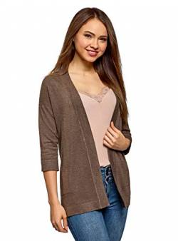 oodji Collection Damen Verschlussloser Cardigan mit Seitentaschen, Braun, DE 34 / EU 36 / XS von oodji Collection
