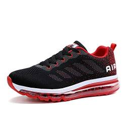 populalar Herren Damen Turnschuhe Laufschuhe Sportschuhe Straßenlaufschuhe Sneakers Atmungsaktiv Trainer Running Fitness Gym Outdoor Leichte Black Red 44 von populalar
