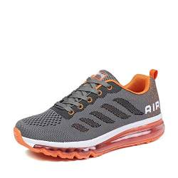 populalar Herren Damen Turnschuhe Laufschuhe Sportschuhe Straßenlaufschuhe Sneakers Atmungsaktiv Trainer Running Fitness Gym Outdoor Leichte Grey Orange 45 von populalar