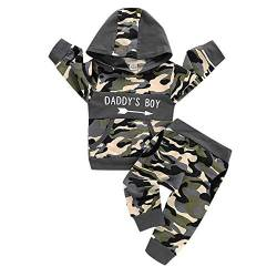 puseky Säugling Baby Boy Camouflage Outfits Daddys Boy Hoodie Shirt + Hosen Trainingsanzug Set von puseky