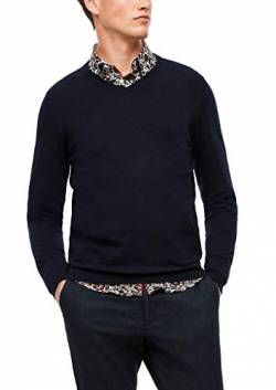 s.Oliver BLACK LABEL Herren V-Neck-Pullover mit Kaschmir Dark Blue L von s.Oliver BLACK LABEL