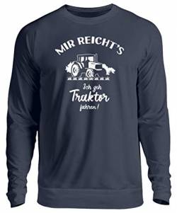 shirt-o-magic Landwirt: Ich GEH Traktor Fahren! - Unisex Pullover -XL-Oxford Navy von shirt-o-magic