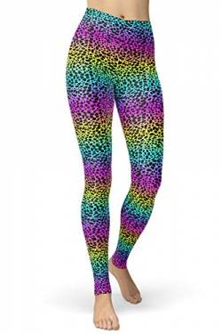 sissycos Damen Tier Muster Leggings, Leoporden Bunte Leggins Sexy, Oil Painting Sanft Hohe Taille Strumpfhose Lang(Leopardenmuster,L-XXL von sissycos