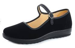 staychicfashion Damen Laufschuhe aus Baumwolle, Motiv Mary Jane, flach, altes Peking, Schwarz, Schwarz (schwarz), 36.5 EU von staychicfashion