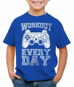 style3 Gamer Workout Kinder T-Shirt Play Sport Station Controller ps Game, Farbe:Blau, Größe:140 von style3