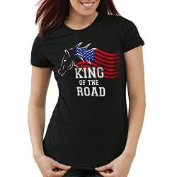 style3 King of The Road Damen T-Shirt Amerika America Muscle Car, Farbe:Schwarz;Größe:M von style3