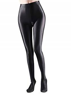 winying Damen Modisch Glossy Strumpfhose Pantyhose Ballett Tanz Yoga Hose Pants Training Fitness Workout Leggings Tights Schwarz XL von winying